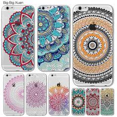Colorido floral de paisley flores casos para iphone 6 6 s 5 5S sí 5c 6 6 S Más 4 4S 7 7 PLUS Hollow Mandala Henna Retro Vintage Casos