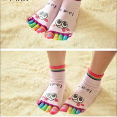 Pink toe sock Happy spelled out on each toe, really cute sock, main color is pink Accessories Hosiery & Socks