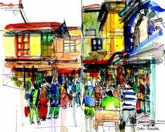The beautiful buildings of Bhavnagar | Urban Sketchers