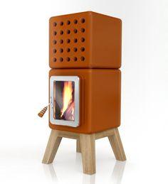 Ceramic round and cube wood/pellets stove  designed by Adriano Design. Manufacturer: La Castellamonte.
