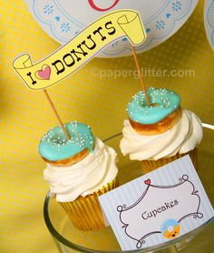 Donuts Party Kit - birthday baby showers or breakfast party Editable Text Printable PDF-You personalize. Complete Set 0009