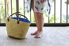 sequin straw beach bag