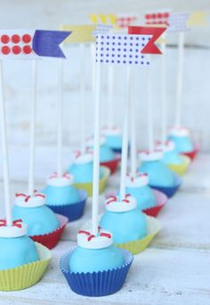 Nautical cakepops with flags. #birthday #desserts