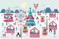 christmas market vector/illustration Graphics file format: eps, adobe illustrator by lyeyee Winter Christmas, Christmas Time, Christmas Crafts, Christmas Markets, Free Wedding Cards, Wedding Card Design, Creative Photos, Vector Pattern, Winter Wonderland