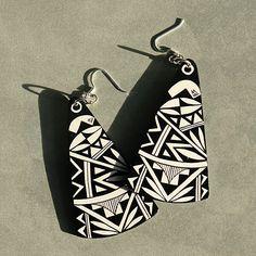 Cool Black and White Earrings (Beyond Buckskin Boutique - Native American Fashion)