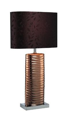 Get it now Lite Source LS-21281COPPER Fantino Ceramic Table Lamp with Fabric Shade, Brown