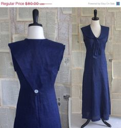 SALE Vintage Sailor Dress Navy Blue Nautical Sailor Dress Sleeveless Linen Womens Size Small Medium