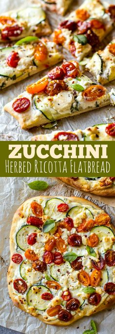 Homemade flatbread bursting with summer flavors from fresh tomatoes to basil, zucchini, ricotta, and more! Easy recipe on sallysbakingaddiction.com