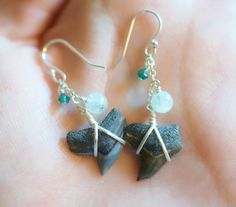 Large Tiger Shark Tooth Earrings - Aquamarine and Sterling Silver by JBellsGems on Etsy