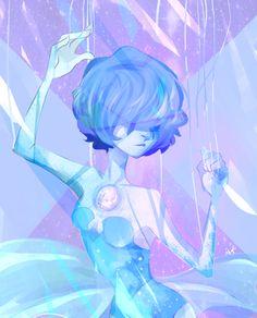Blue Diamond's treasures Fanart, Lapis Lazuli, Perla Steven Universe, Chibi, Pearl Steven, Black Characters, Universe Art, Blue Pearl, Cartoon Network