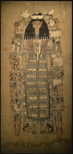 The Ancient Egyptian shroud of the mummy of Tasheritdjedhor-Sensaos,  daughter of the archon of Thebes. She died in 109 AD, at the age of sixteen.    (National Museum of Antiquities - Leiden, Netherlands)