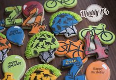 kids bike birthday, bicycle, number 4, fourth birthday, forth birthday, tire tracks, royal icing, decorated cookies, sugar cookies, cookie art, maddy ds, mowhack helmet, mohawk helmet, letter z