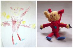 Crocheted toys from Your Kids drawing Custom by YarnBallStories