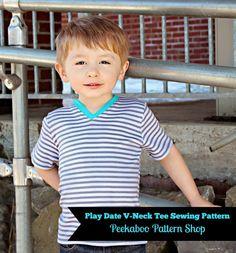 Play Date V-Neck Tee PDF Sewing Pattern! #PeekabooPatternShop #BoySewing Patterns