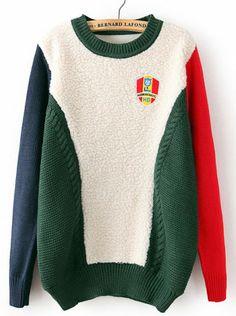 Jersey suelto de lana combinado manga larga-verde EUR€24.69