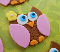 Pink Owl Cupcakes | 12 BROWN and PINK OWL Edible Cupcake Toppers
