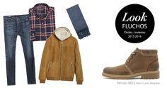 """Look semanal perfecto para un """"Chico Fluchos"""" jeans, camisa, cazadora, bufanda y tus Perseo #fluchos #fluchosoficial"""