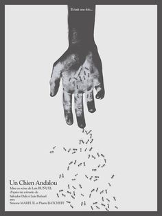 French poster for Un Chien Andalou. masterpiece of surrealist art film cinema and the most disturbing film seen of all time intellectual halloween treat