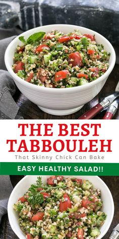 Best Tabbouleh Recipe - The classic Middle Eastern grain salad made with bulgur wheat, cucumbers, tomatoes, parsley, mint, and a lovely lemon and olive oil salad dressing. Healthy and delicious!