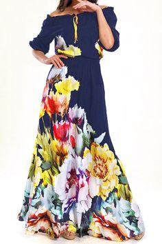 Floral Slash Neck Half Sleeve Maxi Dress