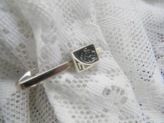 Vintage Shield's Black Panther Silver Tie Clasp or Tie Clip | RosesHeirlooms - Jewelry on ArtFire