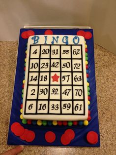 bingo cake- sheet cake with frosted lettering Bingo Cake, Bingo Party, Cake Cookies, Cupcake Cakes, Cupcakes, Beautiful Cakes, Amazing Cakes, Sheet Cake Designs, Strawberry Vanilla Cake
