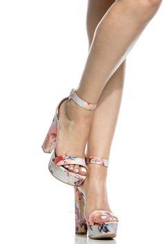 Blush Multi Print Platform Ankle Strap Heels - $32.99