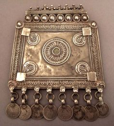 India | An old beautiful silver and glass amulet from Rajasthan with solar symbolism | 350€
