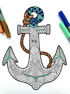Anchor PDF Zentangle Coloring Page - cool, nautical boat or ship anchor - a perfect summer kid's activity