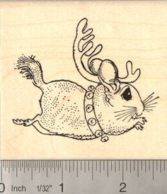 Items similar to Chinchilla Christmas Reindeer Rubber Stamp Wood Mounted on Etsy Chinchillas, Diy Chinchilla Toys, Fantasy Creatures, Reindeer, Fur Babies, Art Drawings, Art Projects, Artsy, Sketches