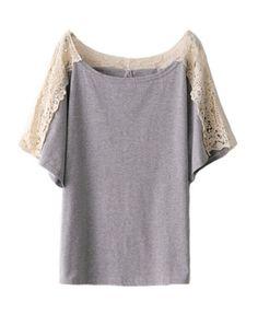 Retro T-shirt with Crochet Lace Panel Details