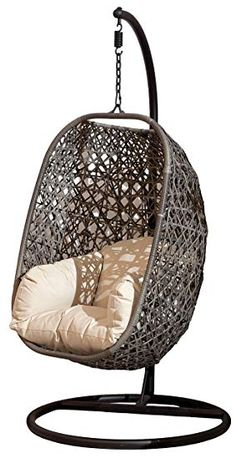 A freestanding Balloon swing.Made from a Resin rattan material.Weighted base to stop the swing from tipping.A unique design that stands out. Egg Swing Chair, Swinging Chair, Egg Chair, Patio Furniture Sets, Garden Furniture, Grey Cushions, Backyard Patio, Rattan, Lounge
