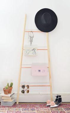 DIY | copper and wood ladder shelf