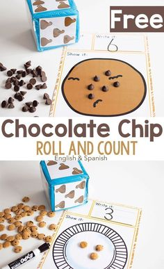 Free printable counting activity for preschoolers. Practice counting with this low-prep roll and count dice activity for math centers. Your student will love learning to count with chocolate chips and cookies! Counting Activities For Preschoolers, Kindergarten Math Activities, Toddler Preschool, Toddler Activities, Preschool Activities, Math Math, Steam Activities, Math Fractions, Math Games