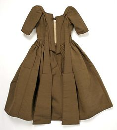 Child's brown wool and silk work dress (back), British, c. 1740.