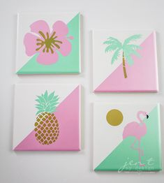 DIY Tile Coasters with Cricut Permanent Vinyl — Jen T. by Design Small Canvas Paintings, Easy Canvas Art, Small Canvas Art, Cute Paintings, Mini Canvas Art, Diy Canvas, Canvas Painting Tutorials, Diy Painting, Diy Art