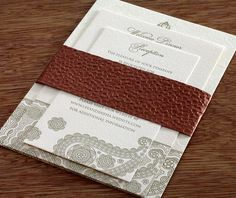 pebble metallic belly band with letterpressed wedding invitation inserts by invitations by ajalon