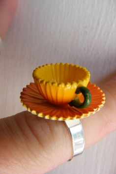 Awesome prize for a tea  party: Orange Citrus Tea Cup Ring Fairy Tale Collection by GymboHannah, $20.00