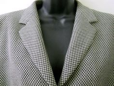 Armani Collezioni Womens Jacket Houndstooth Black Gray Lined Button Front Blazer #ArmaniCollezioni #Jacket