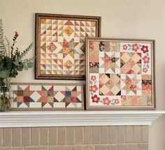 Love the framed quilts on the fireplace mantle.