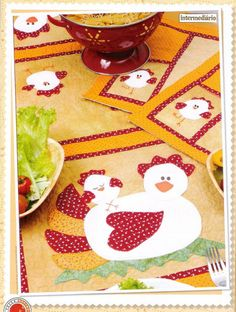 appliqued chicken placemats