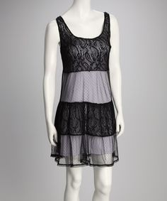 Take a look at this Black & Lavender Lace & Mesh Babydoll Sleeveless Top by A List on #zulily today!  $19.99