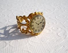 Brass Clock Filigree Ring Vintage Cabochon