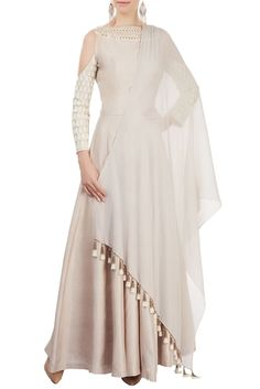 Shop Manish Malhotra - Oyster cold-shoulder anarkali set Latest Collection Available at Aza Fashions Indian Gowns, Indian Attire, Pakistani Dresses, Indian Wear, Indian Outfits, Kurta Designs, Blouse Designs, Heavy Dresses, Indian Look