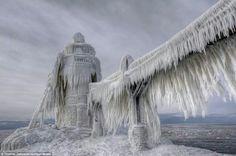 A frozen Michigan lighthouse Jan 2014