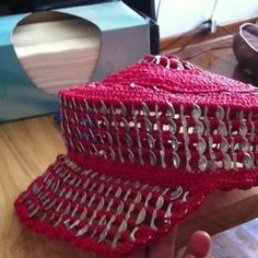 Hat made with soda tabs