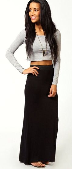maxi skirt and crop top - Google Search