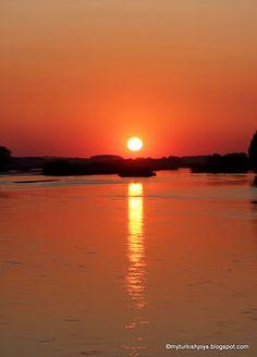 Sunset from the Meriç Köprüsü in Edirne, Turkey