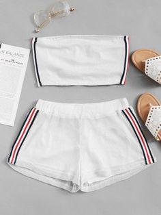 Striped Tape Side Tube Top With Shorts -SheIn(Sheinside) Cute Lazy Outfits, Crop Top Outfits, Sporty Outfits, Stylish Outfits, Yoga Outfits, Fitness Outfits, Fitness Wear, Girls Fashion Clothes, Teen Fashion Outfits