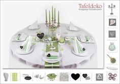Hochzeit Tischdeko für runde Tische in Grün und Weiß - Edel, elegant, luxuriös